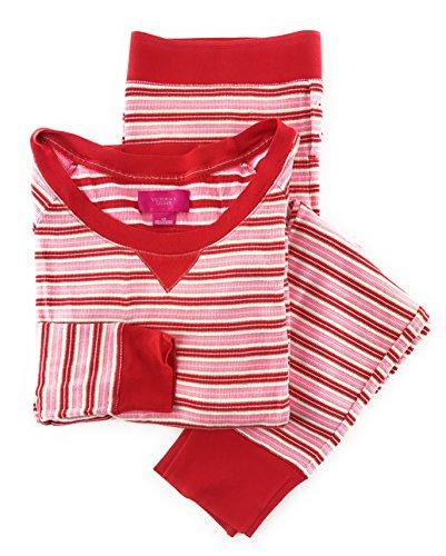 Fire White Cotton Spandex - Victoria's Secret Fireside Long Jane Thermal Pajama Set Red White Pink Stripe X-Large