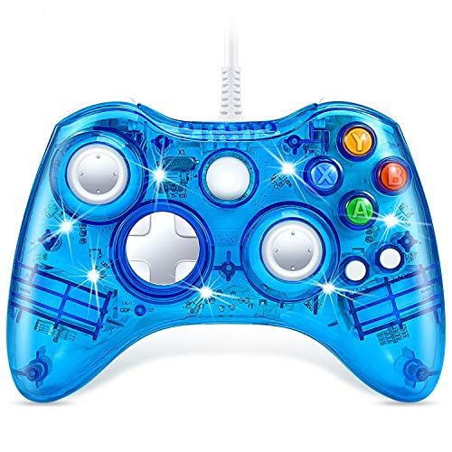 VOYEE Wired Controller Compatible with Microsoft Xbox 360 & Slim/PC Windows 10/8/7 (Clear Blue) | Upgraded & Led Lighting