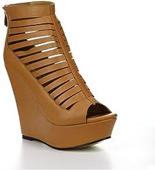 CAPE ROBBIN LAURA-NY-10 Womens Wedge Heel Peep Toe Strappy Plaform Sandals,
