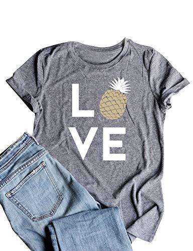 (Dresswel Women Pineapple Print Love Letter T Shirts Short Sleeve Shirts Casual Tee Tops Grey)