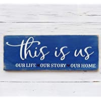 This is Us Rustic Farmhouse Blue Wood Sign Wedding Anniversary or Engagement home Decor Gift