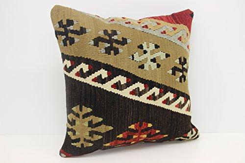 Handmade kilim pillow cover 18x18 inch (45x45 cm) Rustic Kilim pillow cover Sofa Decor Anatolian Pillow cover Cushion Cover (Anatolian Striped Kilim Rug Cushion)
