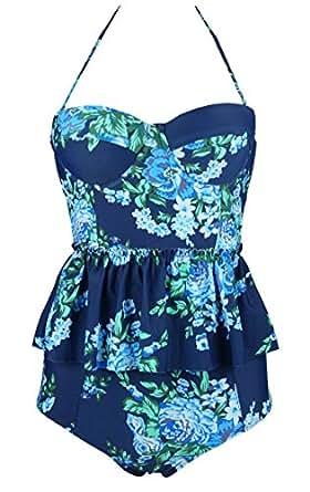 Cocoship Blue & Navy Antigua Floral Peplum Women's Retro Push Up High Waist Bikini Set Chic Swimsuit Bathing Suit S(FBA)