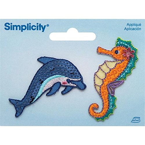 Wrights Dolphin and Seahorse Iron-On Applique, 2.37 by 1.12-Inch, 2-Pack -