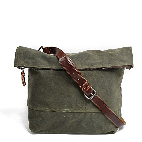 Shoulder Classic Zipper Simple Large color Messenger Amy Canvas Green Bag Yiwuhu Retro Green qAXwgaWq8