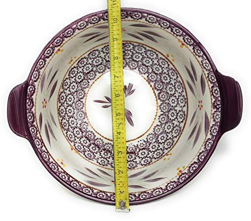 Temp-tations Mixing or Serving Bowl, 3 Qt w/Tab Handles, Replacement (Floral Lace Cranberry)