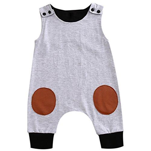 Newborn Baby Boy Round Sewing Sleeveless Romper Jumpsuit Button Clothes (6-12 Months, Gray)