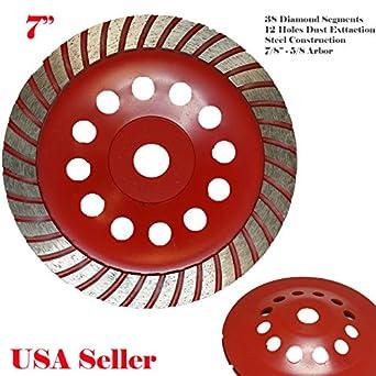 "7//8/""-5//8/"" 7"" Double Row Diamond Grinding Cup Wheel for Concrete  Masonry"