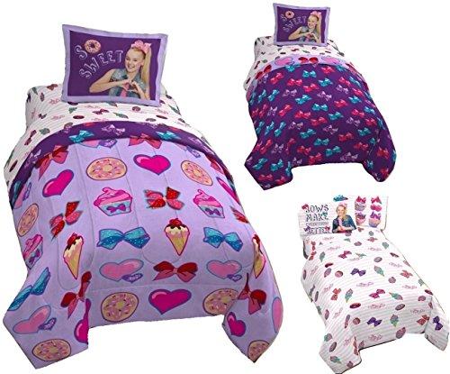 JoJo Siwa 6pc FULL Size Bedding - Twin/Full REVERSIBLE Comforter, Pillow Sham and 4pc FULL Size Sheet Set by JoJo Siwa
