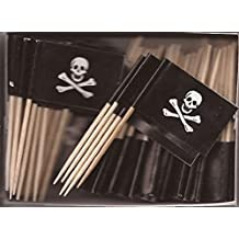 One Box Jolly Roger Toothpick Flags, 100 Small Pirate Skull and Crossbones Flag Toothpicks or Cocktail Picks