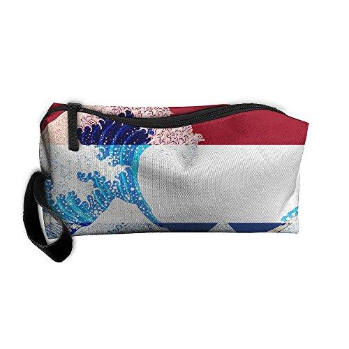 Netherlands Flag And Wave Off Kanagawa Travel Toiletry Bag Travel Gym Grooming Shaving Bag Personal Shave Dopp Kit Travel Bottles Organizer - Usps Shipping Netherlands To