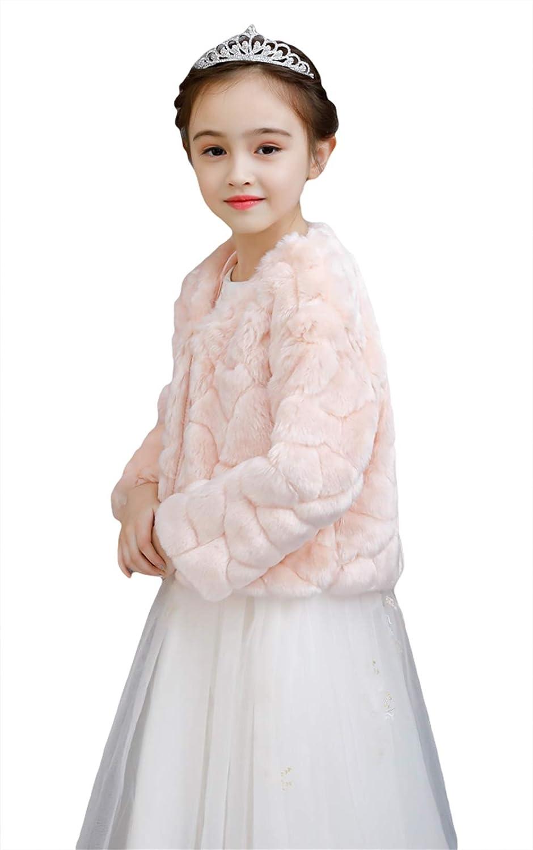 Icegrey Girls Faux Fur Long Sleeve Coat Shawl Jacket Bolero Shrug Champagne S 35-43inch