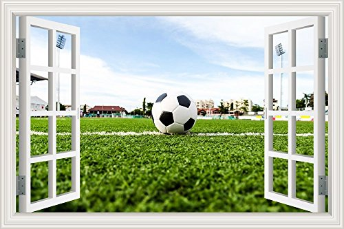 GreatHomeArt 3D Vinyl Wall Decals Baby Boy World Cup Soccer Wall Sticker Football FieldRemovable Wallpaper Adhesive Peel and Stick for Bedroom Decor Art- - World Soccer Pictures Cup