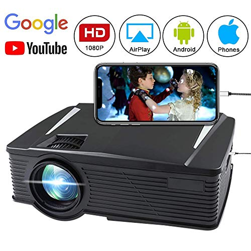 Wireless Projector 2800 Lumen, WEILIANTE WiFi LCD Mini Movie Projector for Home Outdoors, WiFi Directly Connect with Smartphones, 50000 Hours Lamp Life, Support Full HD, HDMI,VGA,AV,2xUSB,SD
