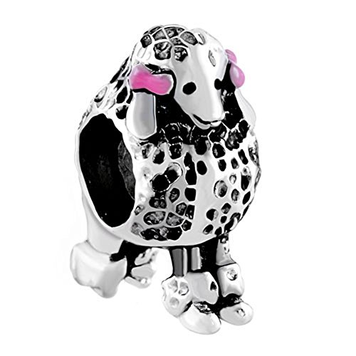 CharmsStory Pet 3d Poodle Puppy Dog Charms Pink Bowknot Animal Beads For - Pet Charm Pink