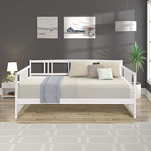 Full Size Daybed - Wood Daybed Frame Full Size with Rails, Full Wooden Slats Support Modern Daybed Full (White)