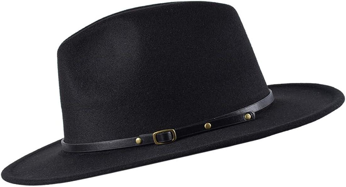 besbomig Sombrero Fedora Sombreros de Sombrerera de Jazz para Hombres Mujer - Sombrero de ala Ancha Fieltro de Lana