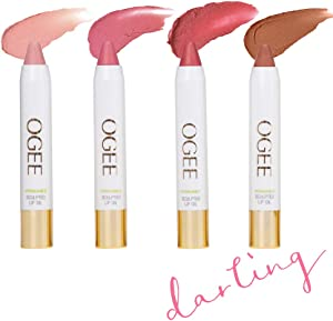 Ogee Tinted Sculpted Lip Oil - Darling 4 Piece Gift Set - Made with 100% Organic Coconut Oil, Jojoba Oil, and Vitamin E - Best as Lip Balm, Lip Color or Lip Treatment