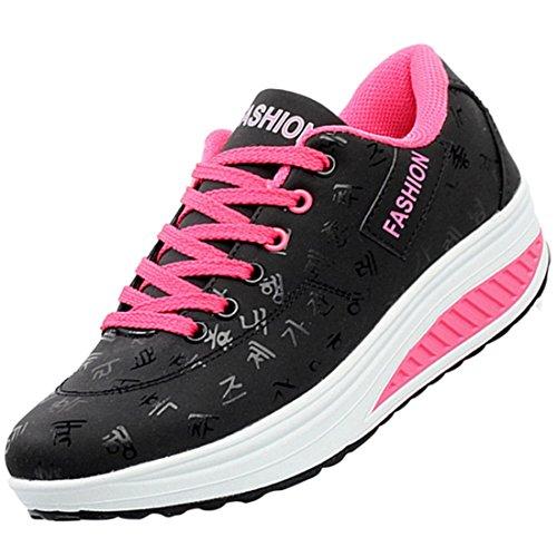 Zhuomei - Zapatillas de Running para Mujer Negro