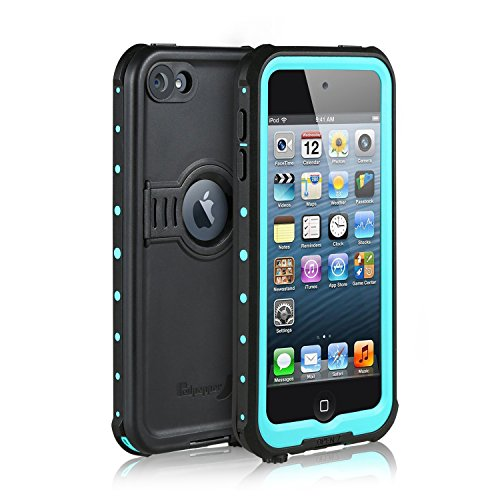 Waterproof Case for iPod 6/iPod 5, Merit Knight Series Waterproof Shockproof Dirtproof Snowproof Case Cover with Kickstand for Apple iPod Touch 5th/6th Generation (Aqua Blue)