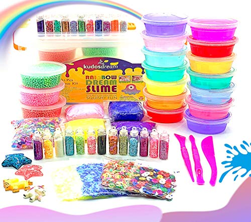 Slime Kit for girls- Party supplies with foam beads, unicorn slime charms, clear slime, glitter slime, slime fruit slices & Fishbowl Slime -Slime party favors for girls boys- By Rainbow Dream Slime