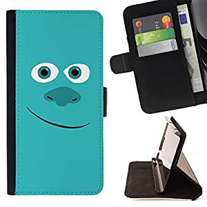 For Sony Xperia T3 / M50W Friendly Blue Monster Style PU Leather Case Wallet Flip Stand Flap Closure Cover