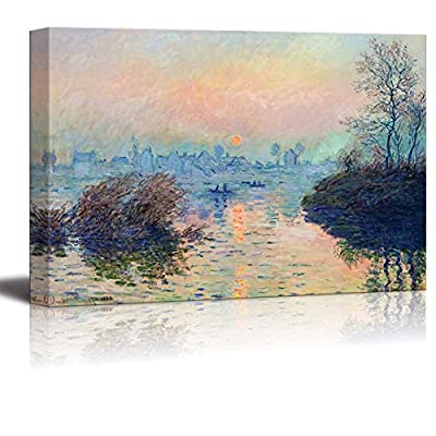 Premium Product, Fascinating Work of Art, Sun Setting Over The Seine at Lavacourt Winter Effect by Claude Monet Print Famous Oil Painting Reproduction