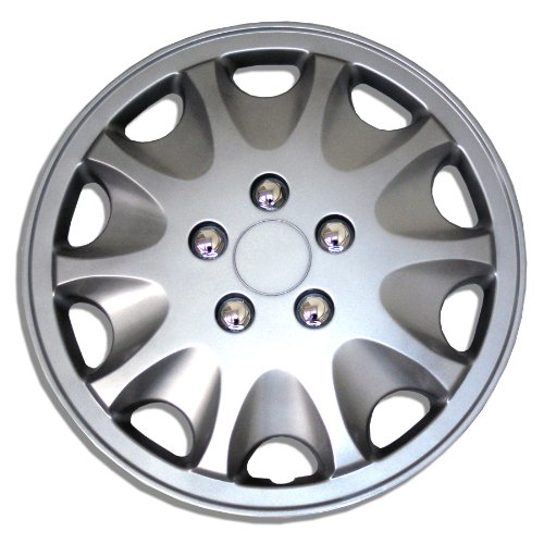Tuningpros WC1P-15-1028-S - Pack of 1 Hubcap (1 Piece) - 15-Inches Style 1028 Snap-On (Pop-On) Type Metallic Silver Wheel Covers Hub-caps