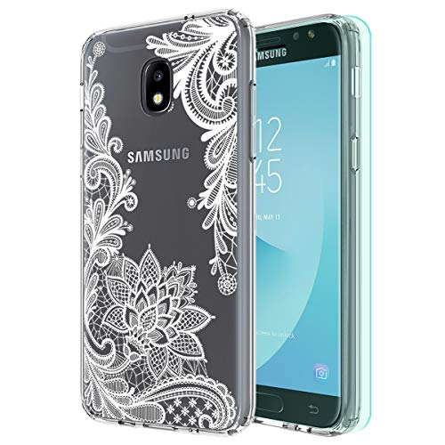 Galaxy J3 2018 Case,Galaxy J3 Eclipse 2/J3 Express Prime/J3 Prime 2 case with HD Screen Protector Huness Clear Flower Transparent PC Backplate Slim Phone Case for Samsung J3 Emerge 2018 (Flower)