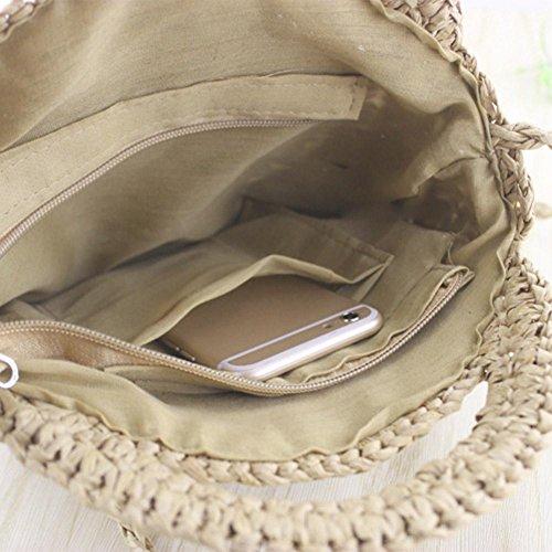 Sacs Glissière à Clair Osier Bandoulière à Ronde Brun Femmes Demiawaking épaule Rétro Paille Sac Plage de de Portés voyage Sac Rotin en xzHxgC6