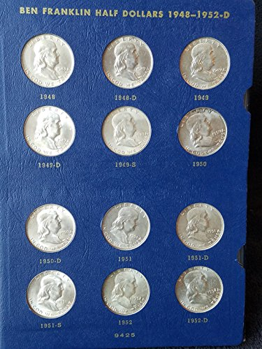 Complete Set Mint State 1948 to 1963 PDS Brilliant Uncirculated Franklin Halfs 35-Coins in Whitman Album BU to Choice BU ()