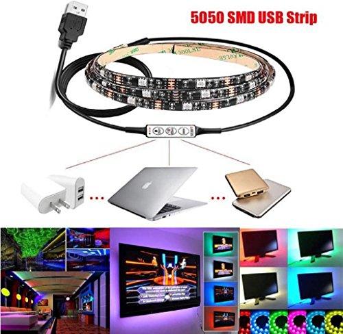 1M LED RGB Strip Light,Sumilulu Multi-colour RGB LED Strip Light USB Cable LED TV Background Lighting Kit