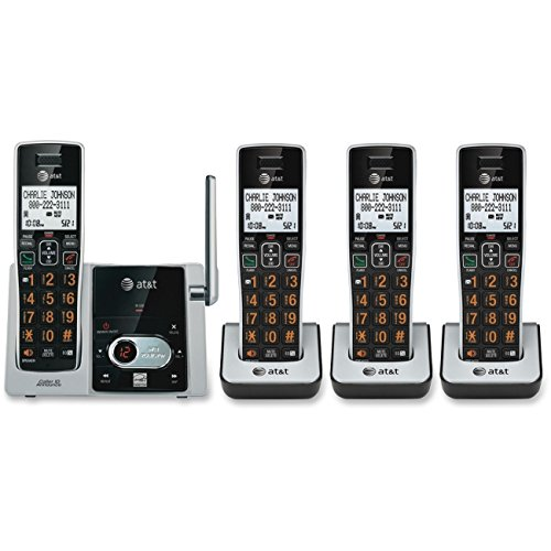 AT&T CL83415 DECT 6.0 Expandable Cordless Phone with Answering System and Call Waiting, Silver/Black with 4 Handset