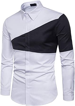 Camisa De Algodón For Hombre Moda De Costura con Camisa De Manga Larga De Solapa Ropa