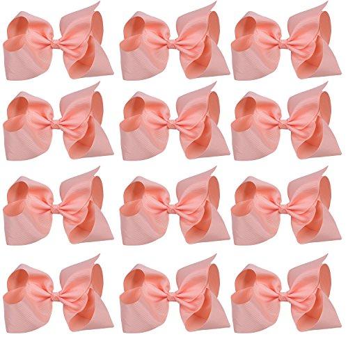 Large Boutique Hair Bows 6 Inch Cheerleading Cheerleader Cheer Bow Alligator Clips(Peach) ()