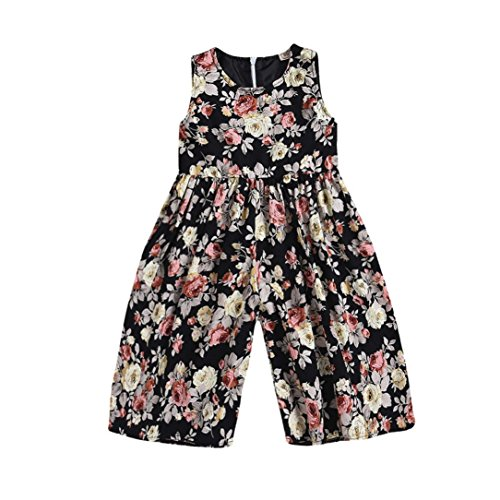 Hunzed Kids Toddler Baby Girls Floral Romper Overall, Outfits Clothes Trousers Jumpsuit (5T, Multicolor)