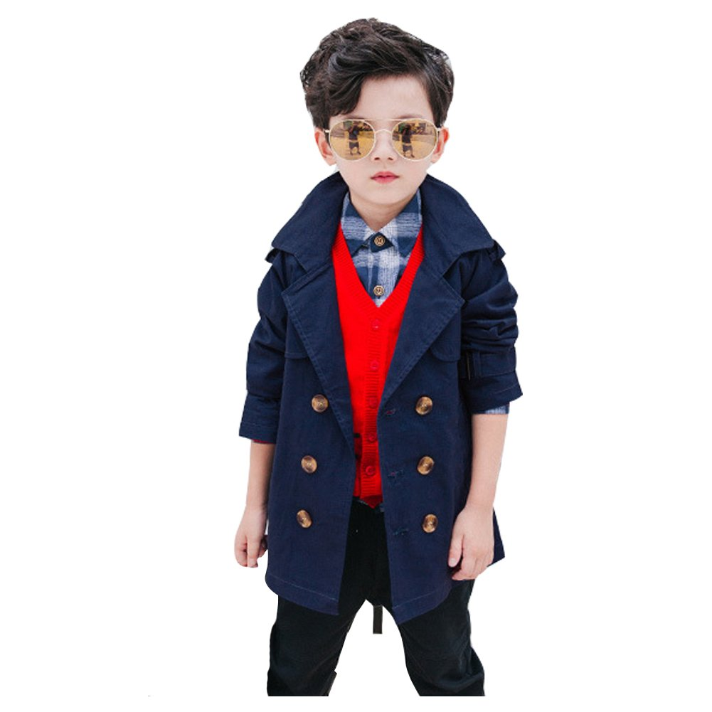 LSERVER Little Boys Double Breasted Windbreaker Jacket Trench Coat with Adjustable Belt Navy 6-10T