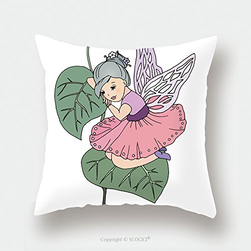 Custom Satin Pillowcase Protector Fairy Girl Sitting On A Leaf Sad And Thoughtful Lay Her Head On Arms Wearing Pink Dress And 403632928 Pillow Case Covers Decorative by chaoran