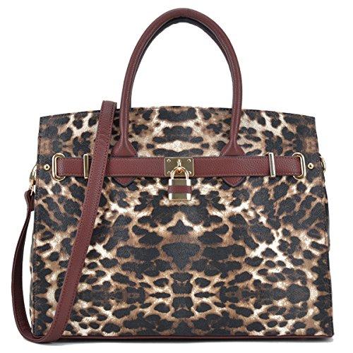 - Women Fashion Purses and Handbags Large Tote Bag Shoulder Bag Top Handle Satchel Purse Hobo for Ladies (01 Without Wallet- Leopard)