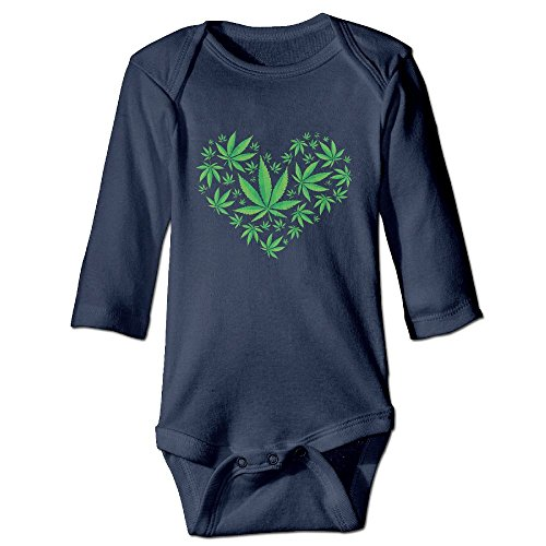 Heart Marijuana Leaf Weed Love Pot Unisex Baby Long Sleeve Bodysuit 100% Cotton -