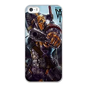 Wunatin Hard Case ,iPhone 5 5S Cell Phone Case White Deathstroke [with Free Tempered Glass Screen Protector]5691265313032