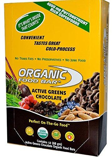 Organic Food Bar Active Greens Chocolate, 68g (Pack of 12)