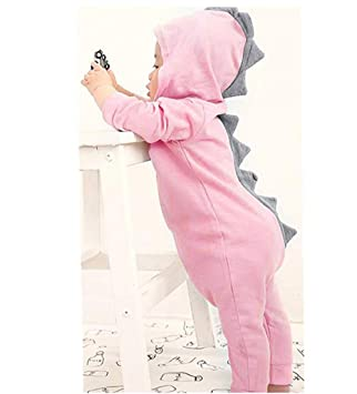 d056dcb22518 Dinosaur Hoodie Romper for Little Girls Boys Franterd Baby Solid Pink Blue  Zipper Jumpsuit Clothes