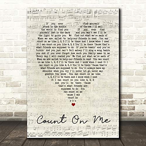 Print Art Christmas Gift - Count On Me Script Heart Song Lyric Quote Wall Art Gift Print