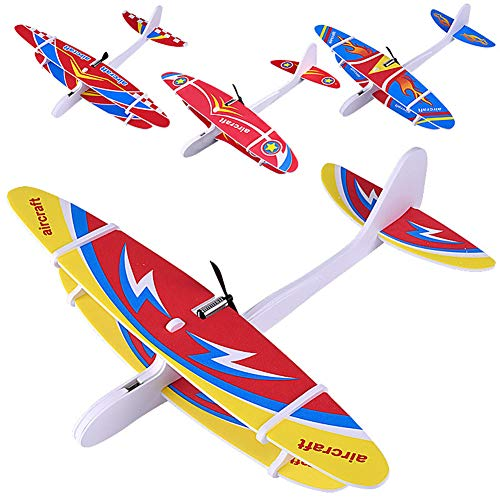 (MeterMall DIY Biplane Glider Foam Powered Flying Plane Rechargeable Electric Aircraft Model Science Educational Toys for Children Random Color)