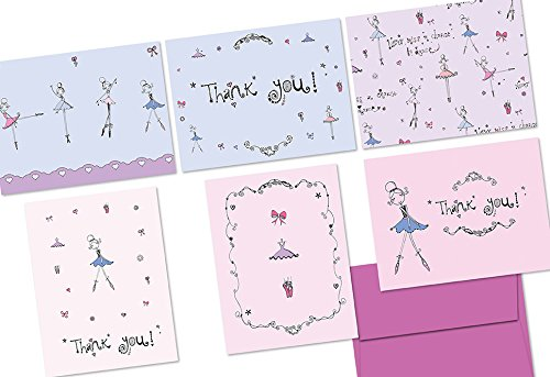 72 Note Cards - Never Miss a Chance to Dance - 6 Designs - Blank Cards - Plum Purple Envelopes Included ()