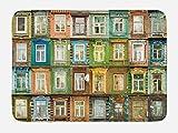 Lunarable Landscape Bath Mat, European Old Vintage Retro Russian House Apartment Windows Colorful Art Print, Plush Bathroom Decor Mat with Non Slip Backing, 29.5 W X 17.5 W Inches, Multicolor