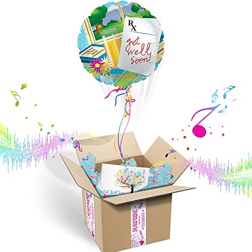Balloons in the Box Get Well Soon Inflated Helium Balloon Care Package | Includes Coordinating Customizable Greeting Card | Pops Out of The Box & Plays A Happy Jingle When - Gift Balloons Box