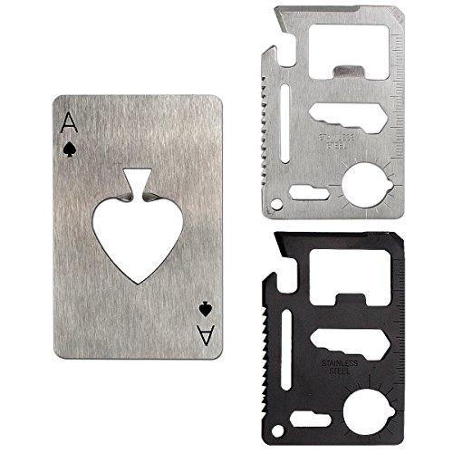 Corkscrew Tool (Credit Card Corkscrew Survival Tool - Esste 3pack / 6pack have 11 in One Multipurpose Beer Bottle Opener Portable Wallet Size Pocket Multitool and Peach heart opener (3 pack(2multitool+1opener)))