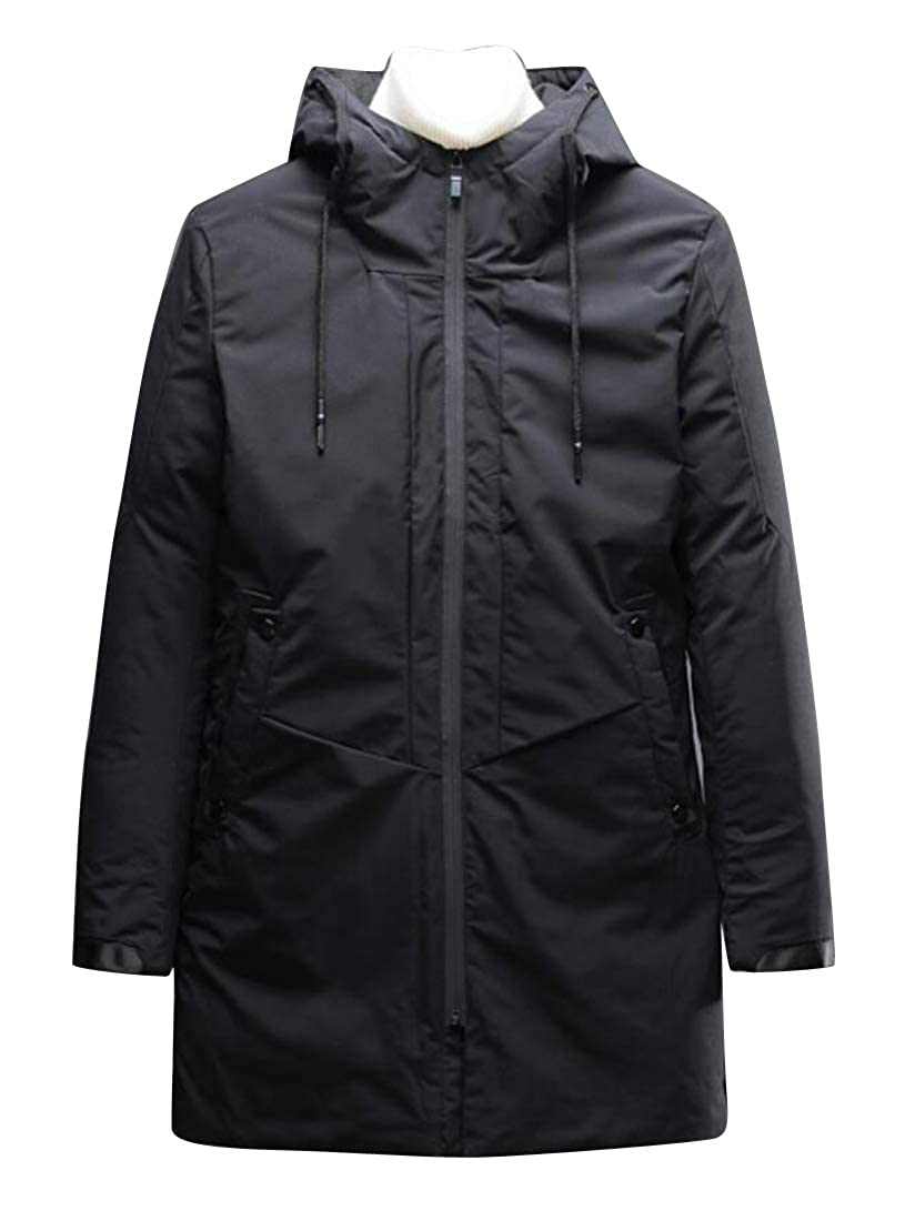 Fubotevic Men Winter Thicker Full-Zip Longline Hoodie Down Quilted Coat Jacket Outerwear